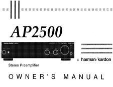 Harman Kardon AP-2500 Preamplifier Owners Manual