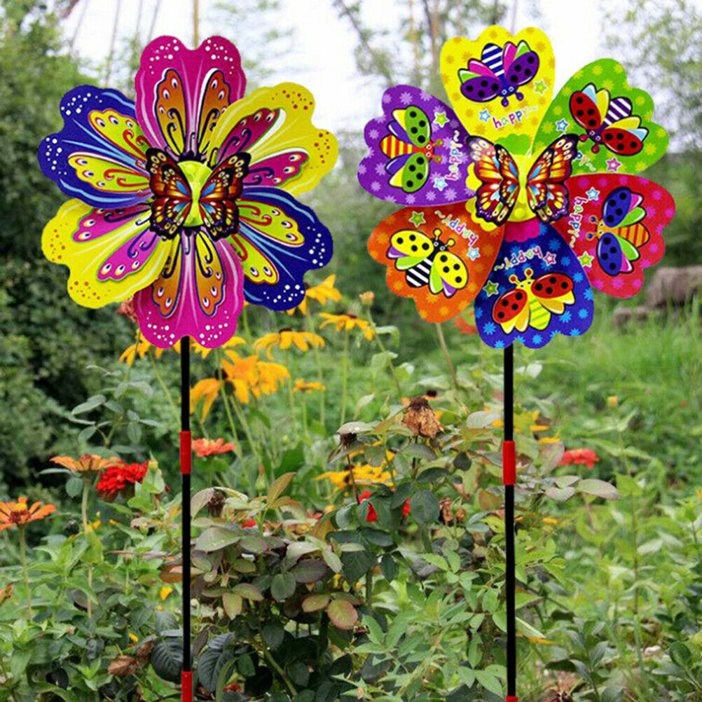 Butterfly Flower Windmill Colourful Wind Spinner Garden Yard Decoration Kids_ZS
