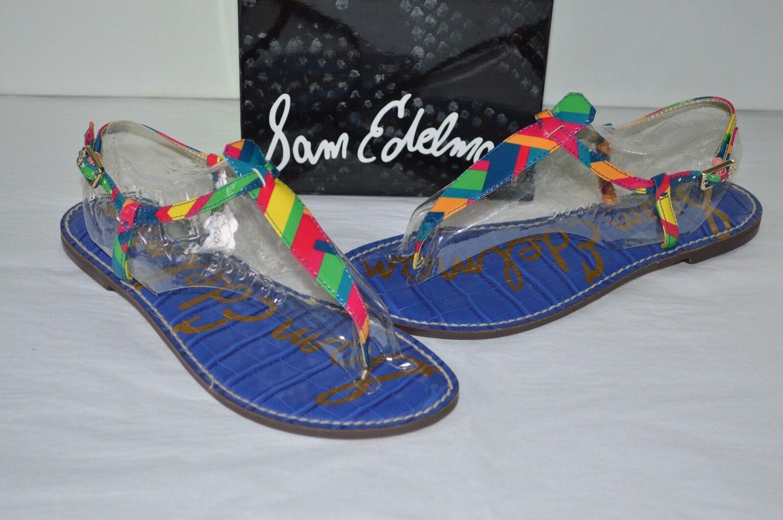 New 75 Sam Edelman GIGI Rainbow Zig Zag Out Patent Leder T-Strap Sandale Sold Out Zag 9026eb