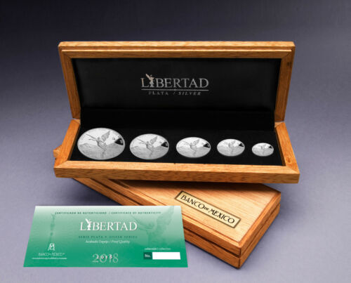 Libertad 1 1//2 1//4 1//10 1//20 oz .999 fine silver Proof Set Mexico 2018 only 1000