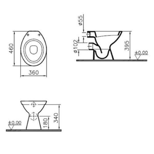 Vitra Norm Stand Tiefspül WC weiß Abgang waagrecht 6858L003-1028 inkl WC-Sitz