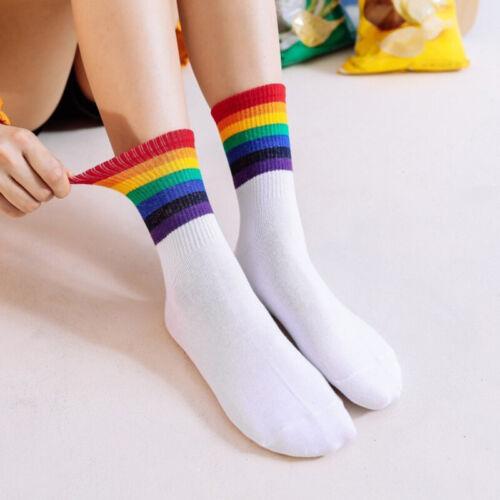 1Pair Women/'s Socks Rainbow Stripes Socks Christmas Warm Xmas Socks Harajuku/_vi