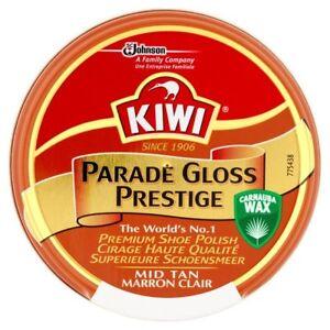Kiwi Mid Tan Parade Gloss Prestige Shoe Polish 50ml Tin Multi Pack