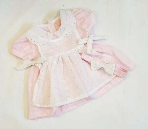 Headband /& Knickers 0-24 month 3 piece White Pinny Dress NEW Baby Girls Pink