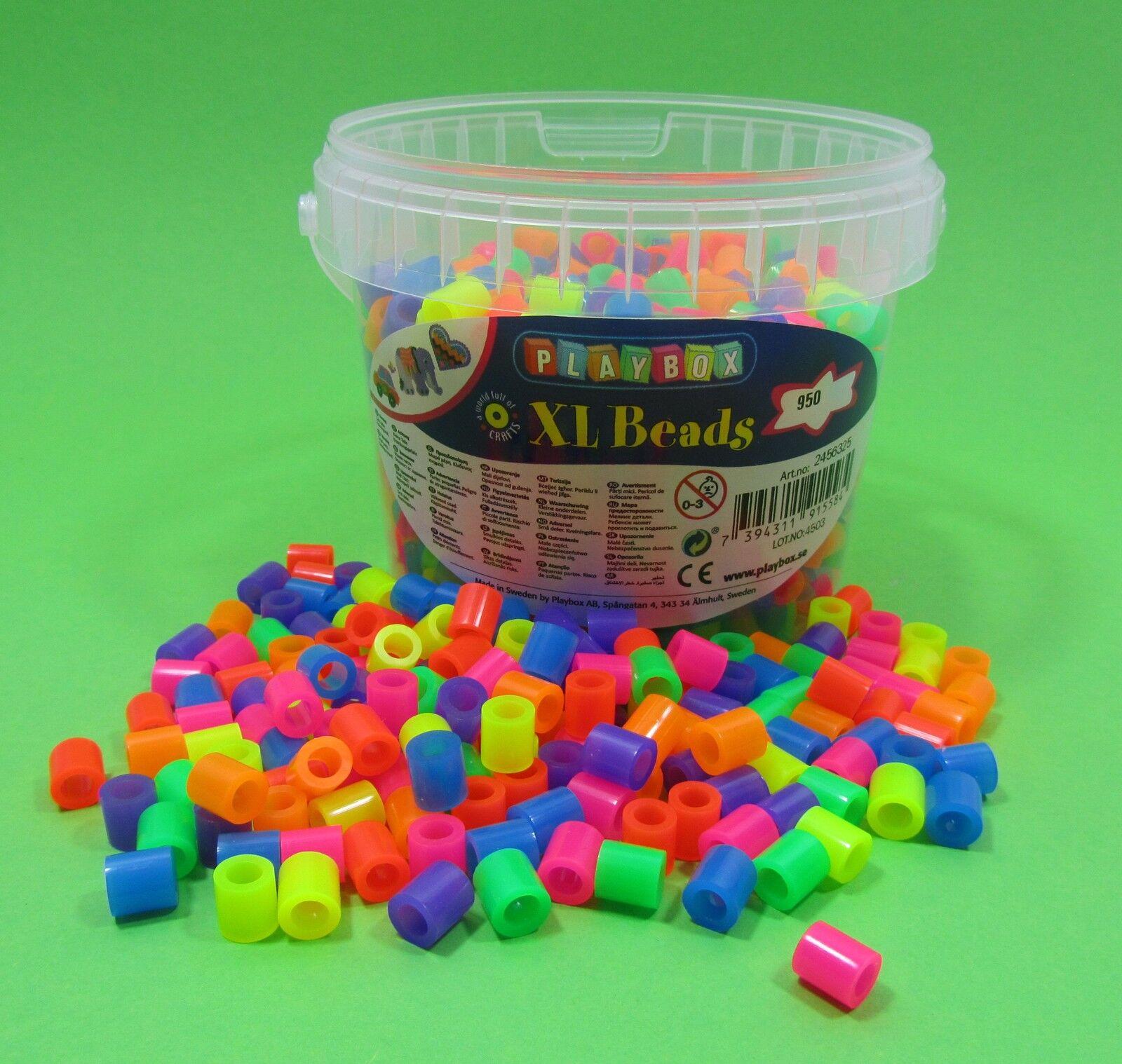 XL Bügelperlen Neon im Eimer 950 Stück Fädelperlen  Top Qualität  2456325