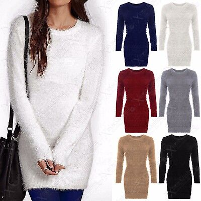 Ladies Fluffy Knit Round Neck Jumper Women Hair Eyelash Fur Mohair Long Look Top Durchblutung GläTten Und Schmerzen Stoppen