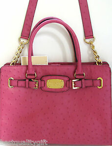 8601989f60c1 Details about MICHAEL KORS HAMILTON LARGE OSTRICH GENUINE LEATHER+GOLD TOTE  SHOULDER BAG-NEW