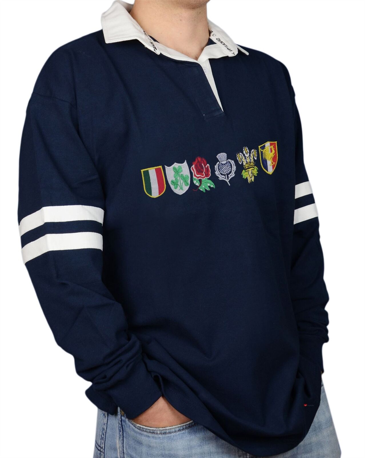 Mens Rugby Shirt - RBS Six Nations Navy Long Sleeve with Country Logos Medium