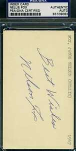 NELLIE NELSON FOX PSA DNA COA  Autograph 3X5 Index Card Hand Signed Authentic