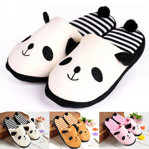 Womens-Slippers-Shoes-Coral-Velvet-Home-Striped-Soft-Winter-Indoor-Panda-Shoes