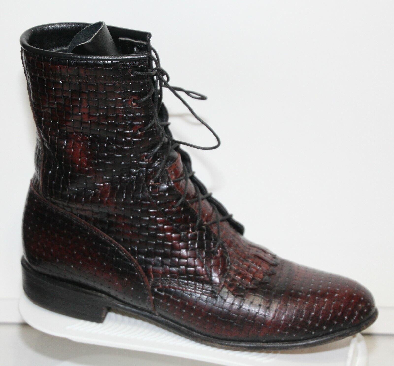 JUSTIN L 509 Dark Cherry Woven Leather Kiltie Roper  Womens Boots  sz 6.5B
