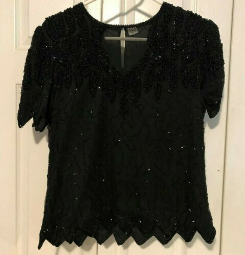 VINTAGE LAWRENCE KAZAR BLACK BEADED FORMAL TOP - S