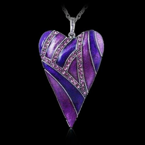 Blue Leaf Love Heart Carved Pendant Necklace Enamel Jewelry Gothic Retro Style