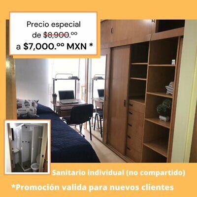 Habitación individual con baño Propio en Copilco UNAM-Inn Sur