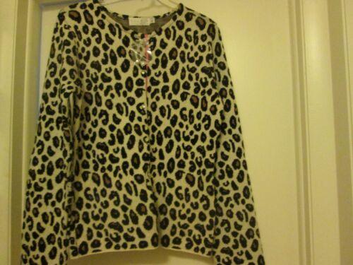 con abbottonatura bottone Leopard Relais Maglione Large New Size 7qd6wUU