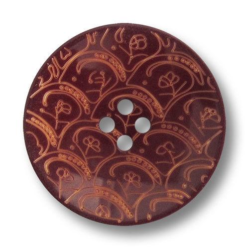5 phantasievolle braune Vierloch Kunststoff Knöpfe mit Ornament Muster 1669br