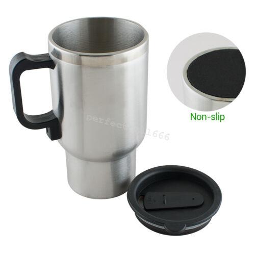 Silver Black Stainless Steel Travel Car Coffee Tea Heated Cup Mug 12V