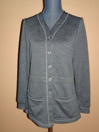 KOI Claire Charcoal Gray Button Front Knit Scrub … - image 1