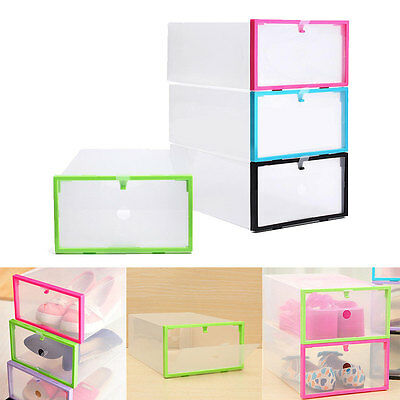 Foldable Stackable Clear Plastic Drawer Case Organizer Box Holder Shoe Storage