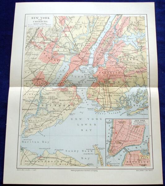 New York Und Umgebung Map From 1889 Manhattan Brooklin Long Island Newarc Reines Und Mildes Aroma