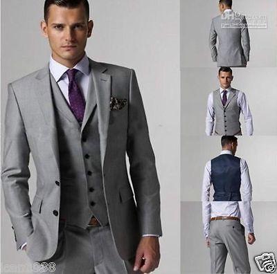 Men's Tailored Grey 3 Piece Slim Fit Two Button Lapel Best Man Wedding Suit