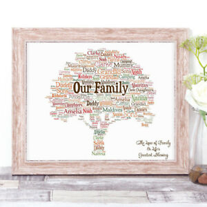 Personalised-OUR-FAMILY-TREE-Word-Art-Print-Gift-Autumn-Home-Gift-Mother-039-s-Day
