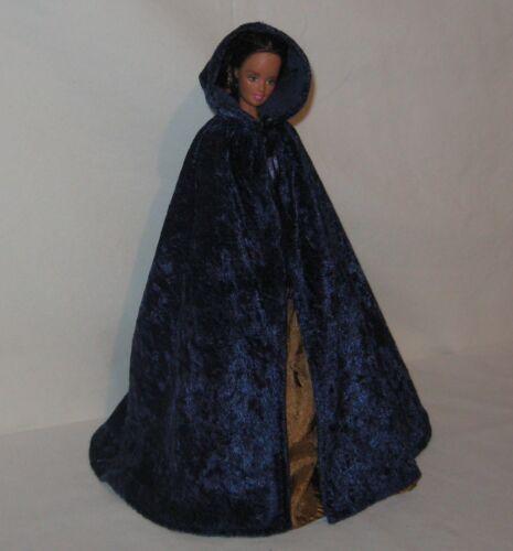 Handmade Navy Velvet Panne  Barbie Hooded Cape