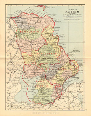 County Antrim Bartholomew 1886 Antique County Map Ulster Belfast Lisburn