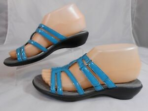 Clarks-Privo-Womens-Sandals-Sz-6-M-Slip-On-Patent-Strappy-2-EZ-Straps-Blue-Gray