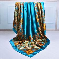 100cm Ladies Owl Bandana Square Head Neck Scarf Wrap Satin Silk Vintage Shawl