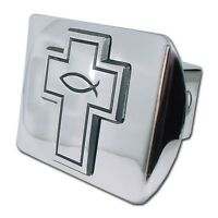 Cross With Christian Fish Shiny Chrome Hitch Cover