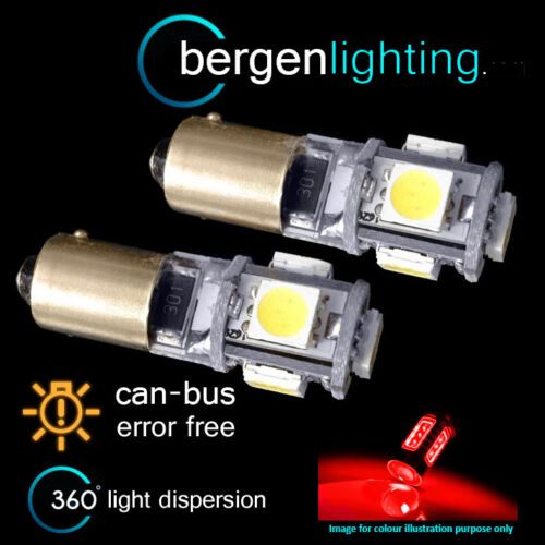 2X BAX9s H6W 434 CANBUS ERROR FREE RED 5 LED SIDELIGHT SIDE LIGHT BULBS SL101501