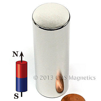"CMS Magnetics® Super Strong N45 Neodymium Cylindrical Magnet 1""x 3"" 1-pc"