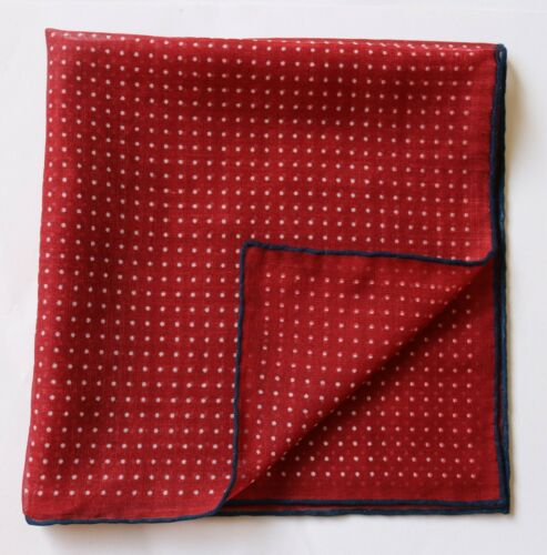 mouchoir 42 cm Main Roulé BORDEAUX /& BLANC Pin Dots Poche SQUARE