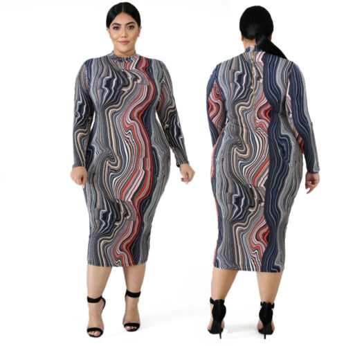 Womens Plus Size Dress Bodycon Evening Cocktail Midi Skirt Floral Long Sleeve