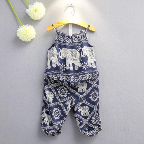 Fashion Kids Girls Elephant Summer Vest Tops+Long Pants Set Suit Baby Girls 2-7T