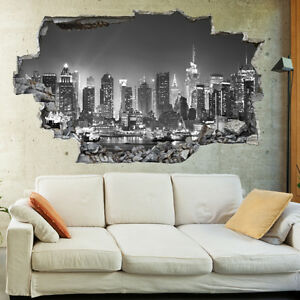 New York City Night Skyline BW 3D Wall Mural Photo Wallpaper Wall