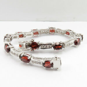 Engagement & Wedding Jewelry & Watches Humorous 925 Sterling Silver Natural Garnet & Cz 7.1 Inches Bracelet Free 3 Days Delivery Products Are Sold Without Limitations