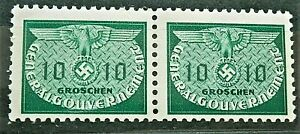 1940-WW2-ORIGINAL-3rd-REICH-ERA-GERMAN-GG-DOUBLE-STAMPS-OFFICIAL-STAMPS-MNH