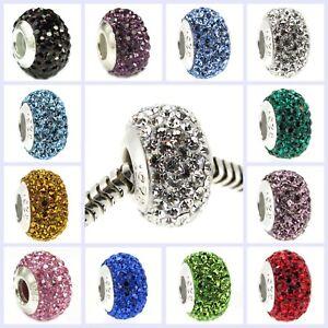 925-Sterling-Silver-BIRTHSTONE-ROUND-Bling-Bead-f-European-Charm-Bracelet
