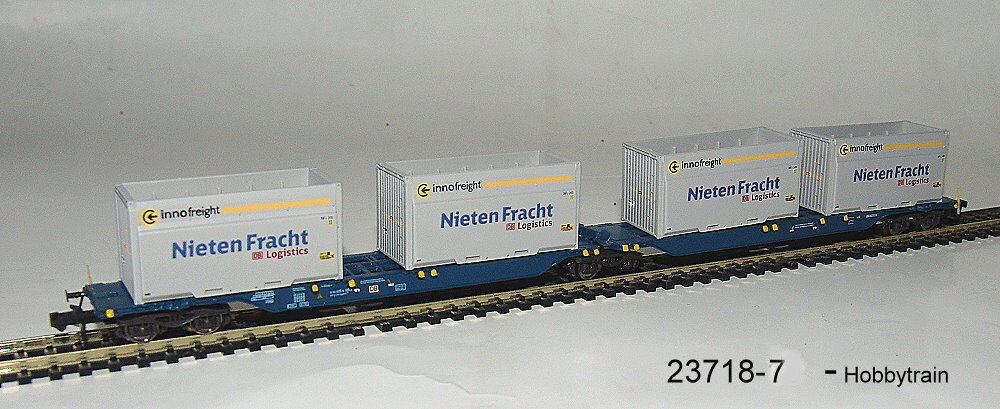 Hobbytrain 23718-7 a Container carrying wagon Sggmrs 715 DB AG  Studded Cargo  neu