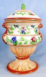 Japan-Ceramics-Covered-Compote-Urn-Candy-Jar-Pink-Blue-Flower-Hand-Paint-Vintage