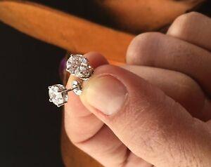 Mens /& Ladies Lab Created Diamond 18K W Gold Filled Screw Back Stud Earrings 5mm