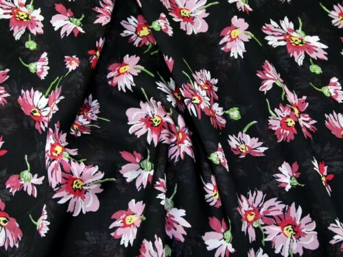Floral Print Cotton Voile Dress Fabric LX25-BlackPink-M