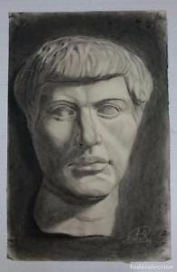 Dibujo-de-busto-de-escultura-clasica-del-autor-Alberto-Duce-Vaquero-Pintado