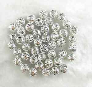 100Pcs-6mm-Silver-Plated-Metal-Filigree-Spacer-Loose-Beads