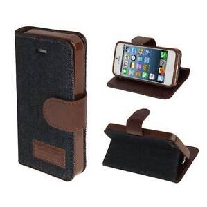 Fuer-iPhone-5-5S-Jeans-Tasche-Schutz-Huelle-dunkel-blau