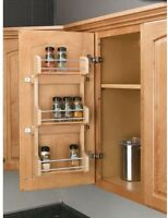 Spice Rack 3-shelf Small Kitchen Cabinet Door Mount Organizer Space Chrome Rails