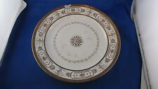 ancienne grande assiette porcelaine de paris blanche et doree 19e empire