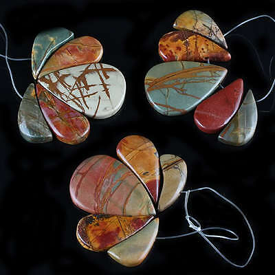 1Set=5Pcs Picasso Jasper Gemstone Water Teardrop Pendant Beads Crafts Findings